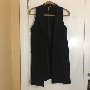 NWOT Black Long Open Vest
